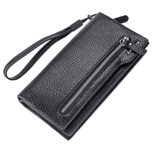 FGGS-baellerry Men wallets long zippered cell phone pocket wallet mens clutch leather big capacity men purse leather money bag(China)
