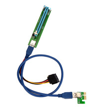 Best Price PCI-E Express 1X To 16X Extender Riser Adapter Card With Molex 60CM USB Cable