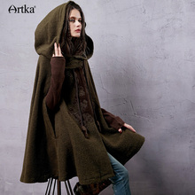 Artka Women's Winter New Vintage Warm Woolen Hoodie Cloak Coat Embroidered Drop-Shoulder Sleeve Wool Cape Outerwear WA10220D(China)