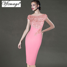 Vfemage Womens Elegant Floral Applique Party Special Occasion Bridesmaid Mother of Bride Pencil Bodycon Dress 3997(China)