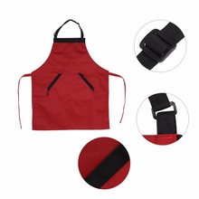 2 Colors Black Red Adjustable Unisex Polyester Apron Dress with 2 Pockets Chef Waiter Kitchen Restaurant Aprons 2016 New Arrival