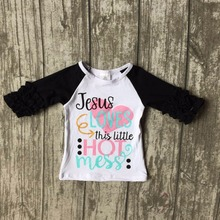 baby girls three quarter icing boutique Jesus loves this little hot mess top shirts clothes black white cotton top raglans
