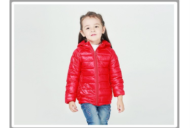 3-12Y Solid Hooded Baby Girls Boys Clothing Kids Duck Down KW-1624
