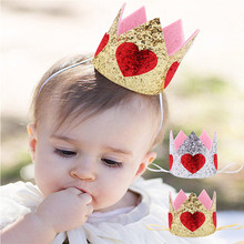CUTIEPIE Cute Mini Felt Glitter Crown with Sweet Red Heart Headband For Girls Birthday Party DIY Crafts Hair Decorative Supplies