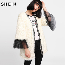 SHEIN Winter Coat Beige Women Faux Fur Coat Color Block Long Sleeve Party Womens Coats Contrast Mesh Cuff Faux Fur Coat(China)