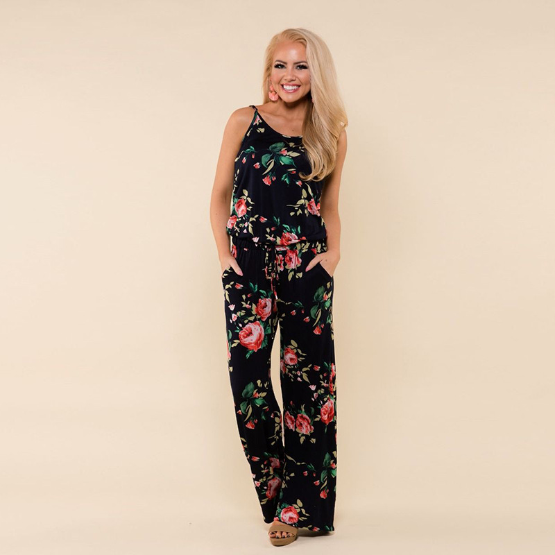 Spaghetti Strap Jumpsuit Women 2018 Summer Long Pants Floral Print Rompers Beach Casual Jumpsuits Sleeveless Sashes Playsuits 80