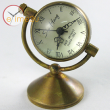 Pure Copper Hand Windind Table Stand Ball Clock See-though Mechanical Watch(China)