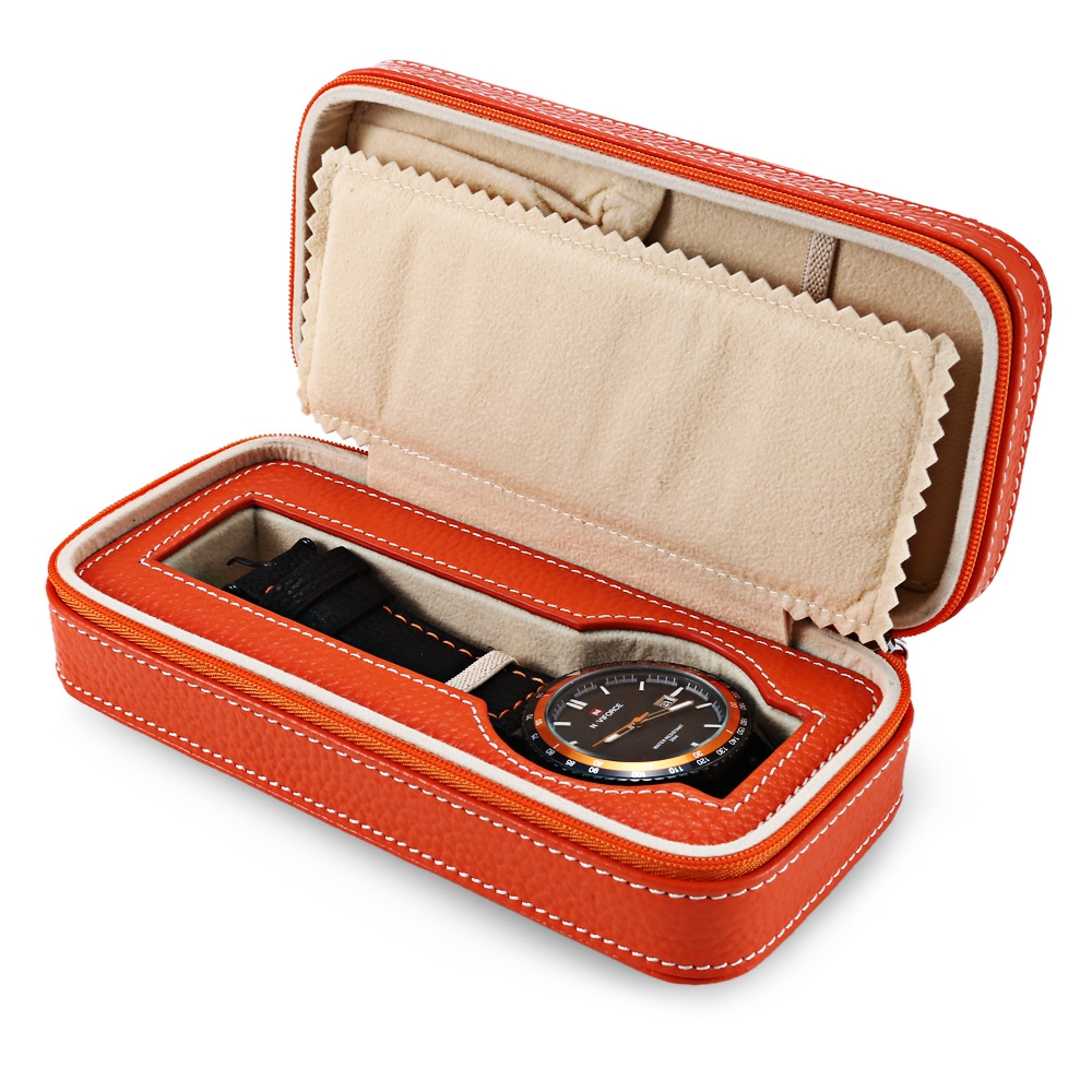 2017 New Fashion Orange Genuine Leather Travel Zippered Watch Box Two Kinds Of Compartment Storage Case Jewelry Card Organizer<br><br>Aliexpress