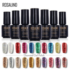 ROSALIND Black Bottle 7ML Diamond Glitter W01-29 Gel Nail Polish Nail Art Nail Gel Polish UV LED Soak-Off Glitter Platinum Glue