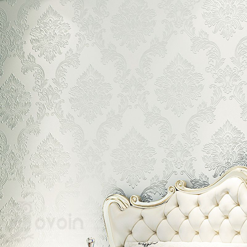 Glitter Modern Textured Embossed Floral Damask Wallpaper Roll Flock non-woven Wall Paper For Bedroom &amp; Living Room,White,Cream<br><br>Aliexpress