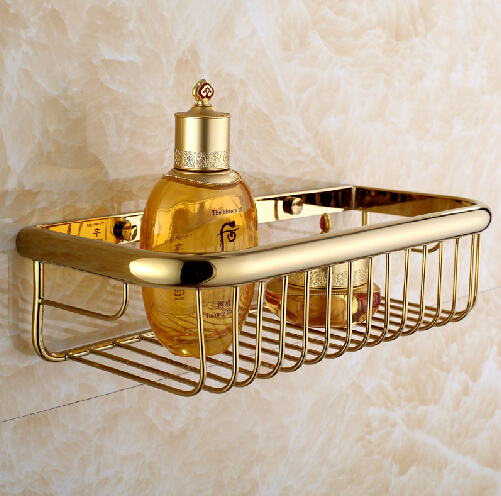 New Luxury Wall Mounted Golden Polished Square Shower Basket Shelf for Cosmetic Orgnizer golden shower basket bathroom holder<br>