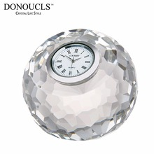 DONOUCLS Apple Table Clock Radiance Coll Cut Crystal Optical Glass Craft Round Clear 8cm X 8cm X 7.5cm