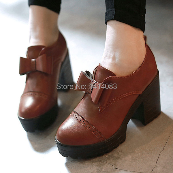 British vintage college style round toe pumps fashion bowknot platforms red blue black brown high heels big size womens shoes<br>