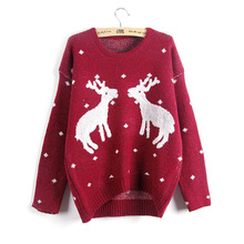 Pullover Women Sweaters Cute Christmas Deer Pattern Pullover O neck Long Sleeve Knitwear Stylish Casual Knitted Sweater 6Colors(China)
