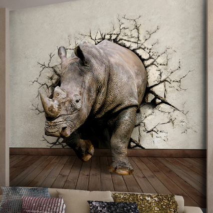 can customized art wall stickers Rhino large 3d effects mural three-dimensional world of animals relief wallpaper entrance way <br><br>Aliexpress