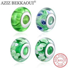 Buy Sterling-silver-jewelry Murano Glass Beads Fit DIY Charm Bracelet 925 Sterling Silver Green Spacer Beads Jewelry Making for $2.60 in AliExpress store
