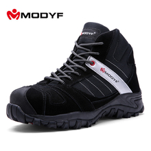 Modyf Men Winter Warm Steel Toe Cap Work Safety Shoes Outdoor Ankle Boots Fashion Puncture Proof Footwear(China)