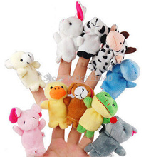 10pcs/Set Zoo Farm Animal Plush Hand Puppets 2016 New Brand Finger Soft Toy To Baby Children Kids Birthday Christmas Gift
