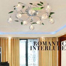 Modern Crystal Leaves Aluminium Glass Balls Shade Ceiling Light Ceiling Lamp Living Room Bedroom Dining Room Lighting