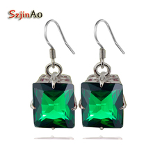 Szjinao custom An incredible 925 sterling silver earrings green crystal women luxury wedding earrings vintage style