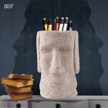 BUF Easter Home Decoration Statue Sculpture Abstract Male Head Sculpture Handmade Resin Craft Art Collection Pen Holder(China)