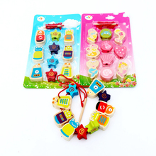 Montessori Educational Wooden Toy Block for Kids Threading Beads Learning for Children Gift