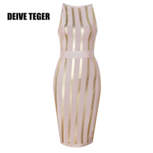 DEIVE TEGER Golden vertical stripe Sleeveless Ankle-Length Elegant Ladies dinner evening party Bandage Dress   HL2434