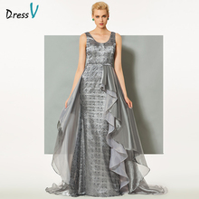Dressv gray long evening dress watteau train a-line sleeveless zipper-up straps wedding party formal dress lace evening dresses(China)