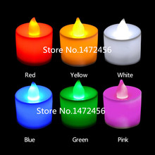 12pcs/box 6 Colors Flickering Flameless  Flicker Tea Candle Light Xmas Party Wedding Candles Safety Home Decoration