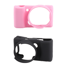2Piece Silicone Camera Case Cover Skin for Sony Alpha A5000 A5100 Black+Pink(China)