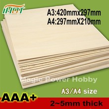 AAA+Balsa Wood Sheet Balsa Plywood A3 A4 size 420mmx297mm 297mmx210mm 2~5mm Thickness For RC Airplane Boat Model Sand Table DIY(China)