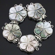 New natural gray mother shell 3rows flower clasp 24mm fashion diy necklace jewelry B1154(China)