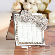 wedding party bridesmaid girl friend gift,bling crystal pearl rhinestone flower bowknot,Beauty makeup compact pocket mini mirror