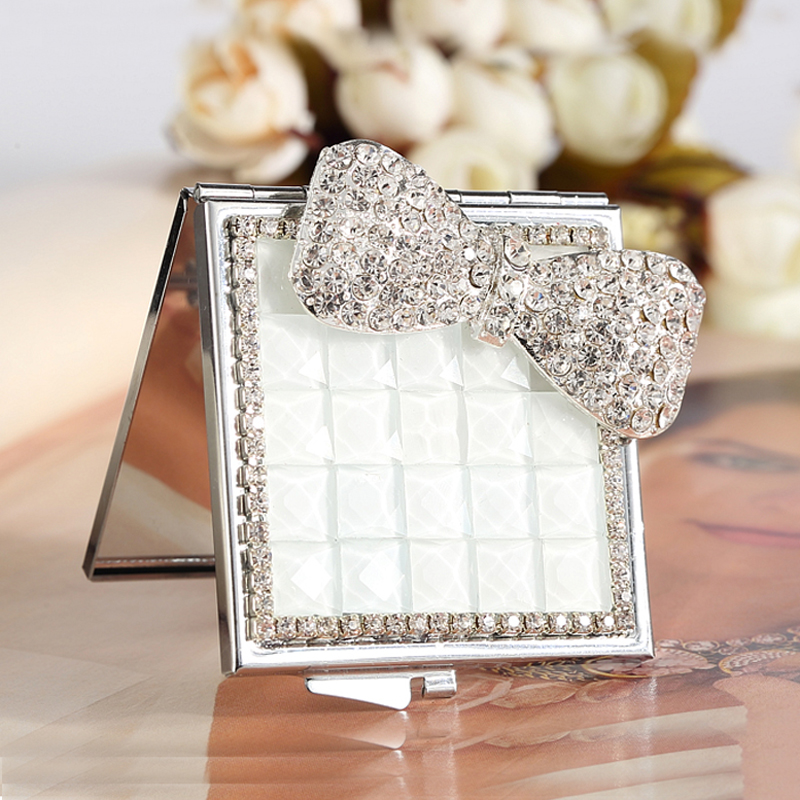 wedding party bridesmaid girl friend gift,bling crystal pearl rhinestone flower bowknot,Beauty makeup compact pocket mini mirror(China)