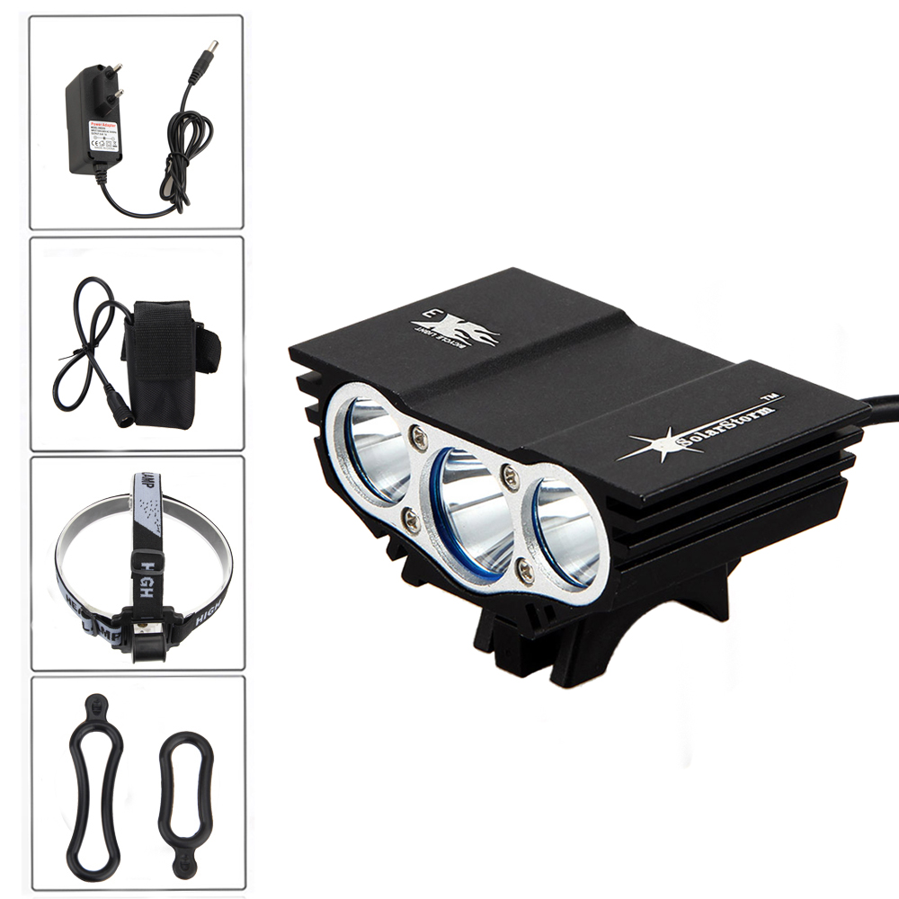 8000Lm 3x XM-L U2 LED Bicycle Light Headlight External 12000mAh Battery Cycling Bike Front Light AC Charger+Headband