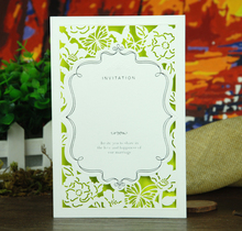 New Elegant Laser Cut Wedding Invitations Card Supplies White and Fluorescent Green,Customizable,Free Shipping 100pcs/lot(China)