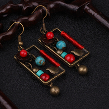 Nipal handmade vintage coconut shell brass birdcage turuoise dangle earrings ,New  jewelry Chinese square ethnic earrings