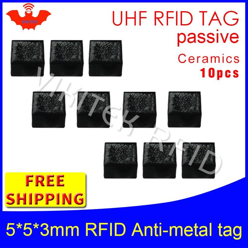 UHF RFID anti metal tag 915mhz 868mhz Alien Higgs3 EPC 10pcs free shipping 5*5*3mm very small square Ceramics passive RFID tags<br>