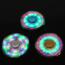 Colorful Led Light Glow In The Dark Gold Plating Three Corner Finger Spinner Steel Bearing For ADHD Relase Anxiety Stress Toys