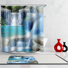 3d Shower Curtain Waterfalls Scenery dolphins beach sea bathroom curtain Fabric creative scenery blue bath curtain with hooks