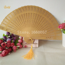 100pcs Wedding Favor Gift Gold Personalized Fans Wood Hand Folding Fans+Personalize Name Date by Laser/Printing+White Box(China)
