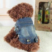 Pet Cat Puppy Anjing Lembut Biru Jean Mantel Jaket Musim Gugur Musim Semi Pakaian Anjing XS Sml XL New Fashion(China)