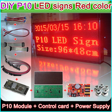 DIY led message board P10 Red Semi-outdoor LED display,P10 LED Module+WiFi Control card+power supply+Magnetic screw+16P Cable(China)