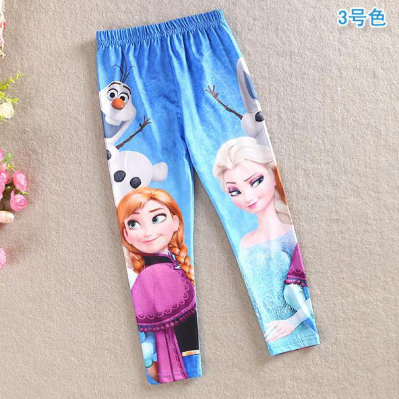 2017 Summer New Baby Girls Fashion Long Pants Print Cartoon Kids Girls Anna Elsa Leggings Blue Toddler Classic Pants 3 4 5 6 7 8<br>