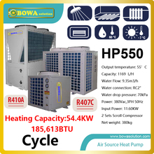 55KW or 185,000BTU Hi-COP heat pump water heater produces 1200L water per hour, please check with us about shipping costs
