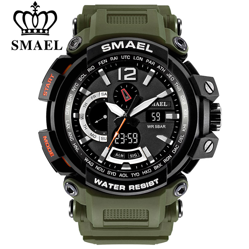 SMAEL Top Brand Luxury Sport Watch Men Digital Watches 5Bar Waterproof Military Dual Display Wristwatches Relogio Masculino 1702
