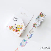 New DIY Japanese Paper Masking Washi Tapes Beautiful Cat and Floral Decoration Adhesive Tapes Scrapbooking Stickers 15mmx7m