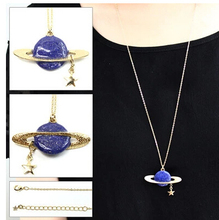 Timlee N006 Free shipping,Sweet Saturn planet Star design Pendant Long Necklace(China)