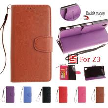 Best Fashion PU Leather Flip Wallet Phone Mobile Cell Case coque capinha fundas Cover Cove Bag For Sony Xperia Xperi Z3 Brown(China)