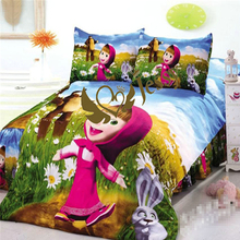 3Pcs Cartoon Bedding Sets 100% Cotton Kids Bed Linen with Duvet cover +Fitted Sheet +Pillow Case Set